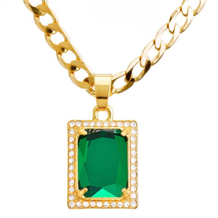 """Details about  /Men/'s Hip Hop Blue Green Ruby CZ Pendant 20/"""" 22/"""" Cuban Chain Necklace CP 222 G"""