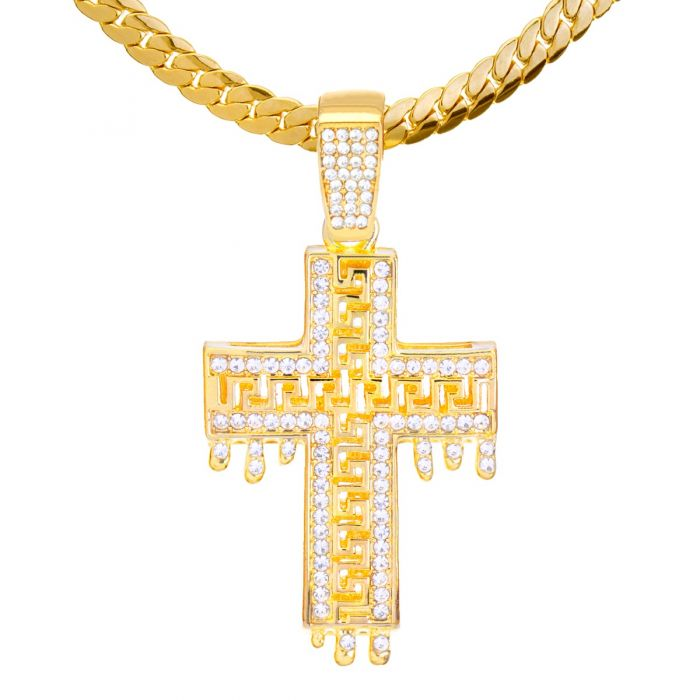 metaltree98 Hip Hop Gold Plated Dripping Cross Pendant 24 inch Miami Cuban Chain Necklace MCP 1307 G